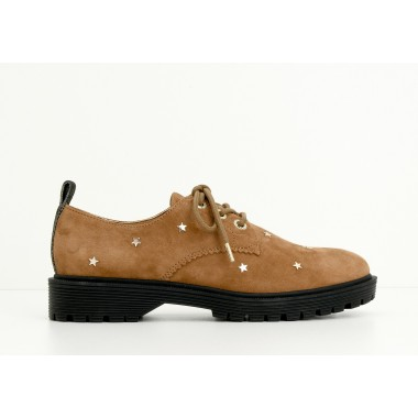 ROCK DERBY W - GOATSUEDE/STARS - CAMEL SOLE MAT BLACK