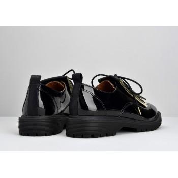 ROCK DERBY W - PATENT - BLACK SOLE BLACK